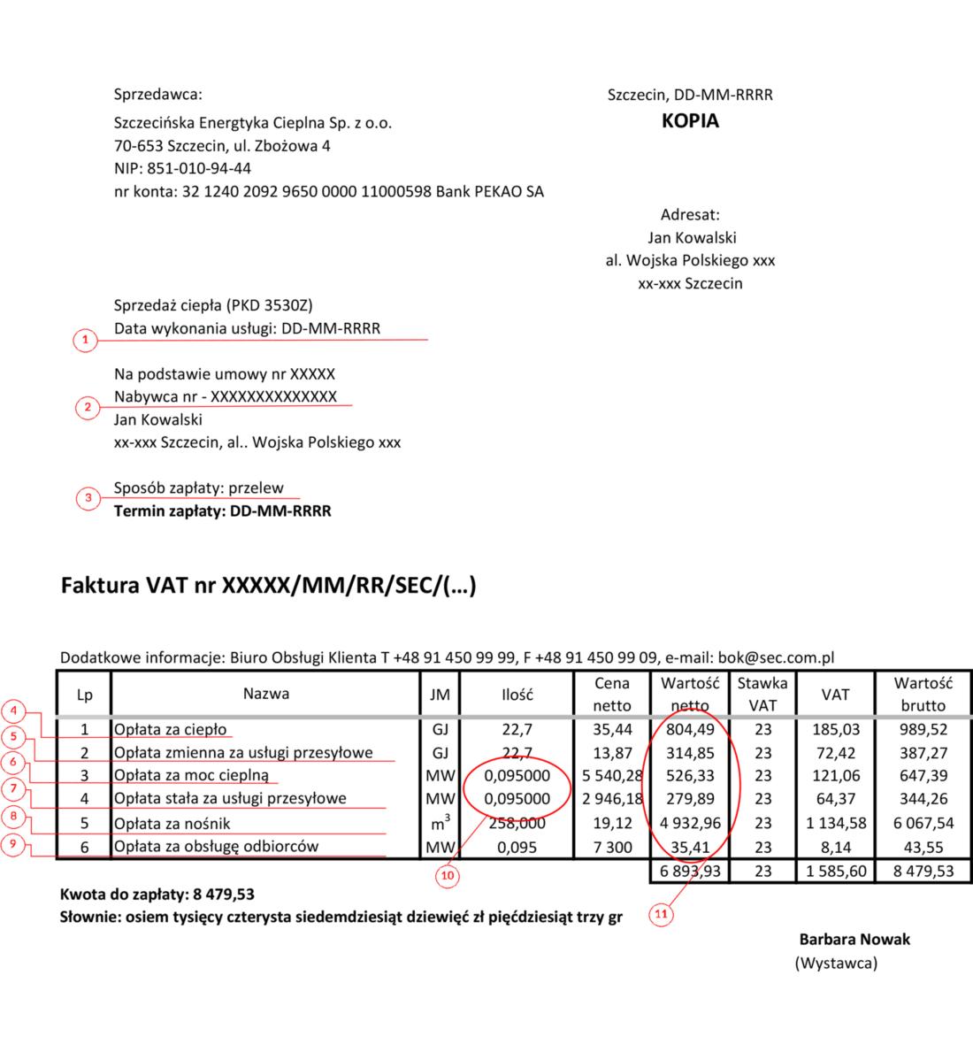 Opis faktury VAT - objaśnianie pojęć